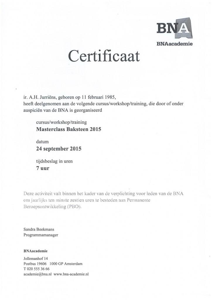 Certificaat Baksteen