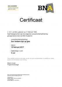 Certificaat cursus glas